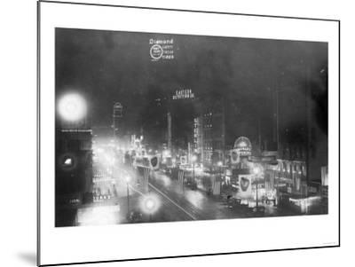 Nightview of the Neon Signs - New York, NY-Lantern Press-Mounted Art Print