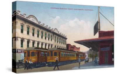 Northern Electric Rail Depot - Sacramento, CA-Lantern Press-Stretched Canvas Print