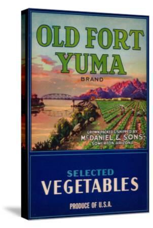 Old Fort Yuma Vegetable Label - Somerton, AZ-Lantern Press-Stretched Canvas Print