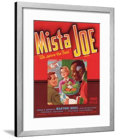Mista Joe Vegetable Label - Phoenix, AZ-Lantern Press-Framed Art Print