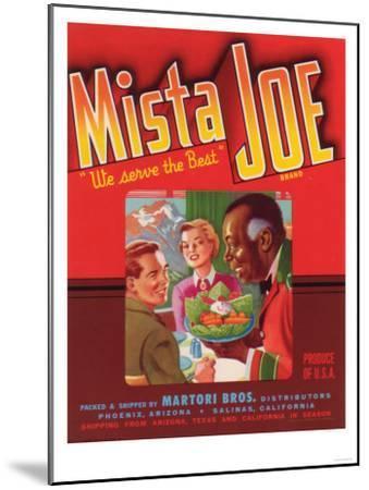 Mista Joe Vegetable Label - Phoenix, AZ-Lantern Press-Mounted Art Print