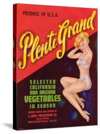 Plenti Grand Vegetable Label - Watsonville, CA-Lantern Press-Stretched Canvas Print