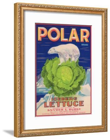 Polar Lettuce Label - Salinas, CA-Lantern Press-Framed Art Print
