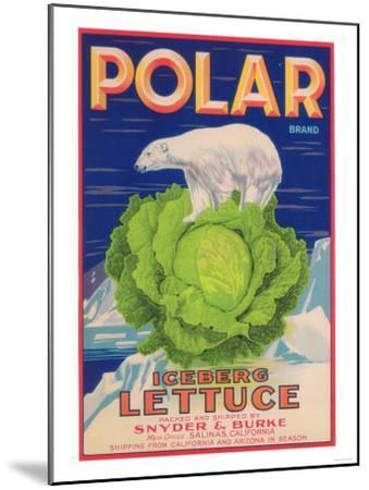 Polar Lettuce Label - Salinas, CA-Lantern Press-Mounted Art Print