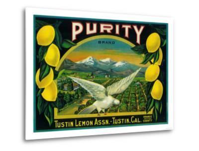 Purity Lemon Label - Tustin, CA-Lantern Press-Metal Print