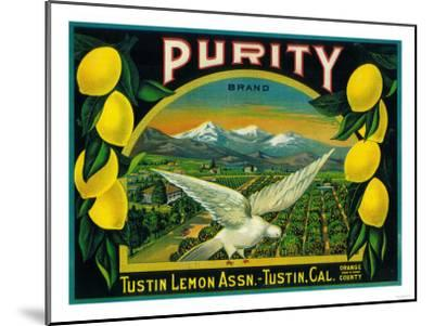 Purity Lemon Label - Tustin, CA-Lantern Press-Mounted Art Print