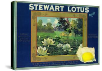 Stewart Lotus Lemon Label - Upland, CA-Lantern Press-Stretched Canvas Print