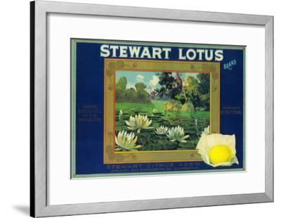 Stewart Lotus Lemon Label - Upland, CA-Lantern Press-Framed Art Print