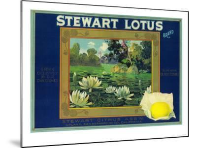 Stewart Lotus Lemon Label - Upland, CA-Lantern Press-Mounted Art Print