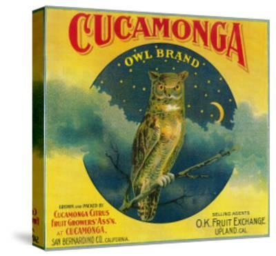 Owl Orange Label - Cucamonga, CA-Lantern Press-Stretched Canvas Print