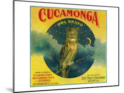 Owl Orange Label - Cucamonga, CA-Lantern Press-Mounted Art Print