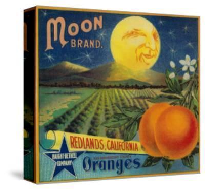 Moon Orange Label - Redlands, CA-Lantern Press-Stretched Canvas Print