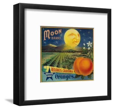 Moon Orange Label - Redlands, CA-Lantern Press-Framed Art Print