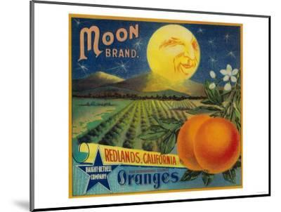 Moon Orange Label - Redlands, CA-Lantern Press-Mounted Art Print