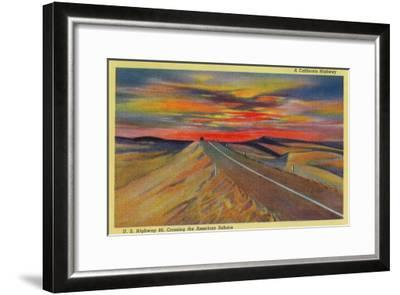 US Highway 80 Crossing the American Sahara - California State-Lantern Press-Framed Art Print
