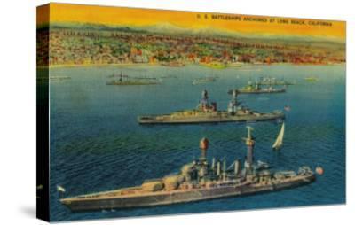 U.S. Battleships Anchored at Long Beach - Long Beach, CA-Lantern Press-Stretched Canvas Print