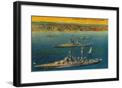 U.S. Battleships Anchored at Long Beach - Long Beach, CA-Lantern Press-Framed Art Print
