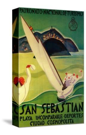 San Sebastian Vintage Poster - Europe-Lantern Press-Stretched Canvas Print
