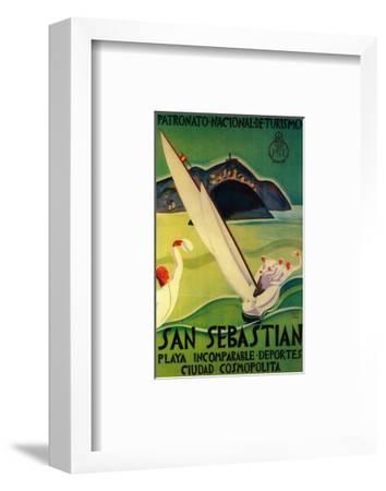 San Sebastian Vintage Poster - Europe-Lantern Press-Framed Premium Giclee Print