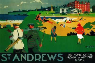 St. Andrews Vintage Poster - Europe-Lantern Press-Stretched Canvas Print