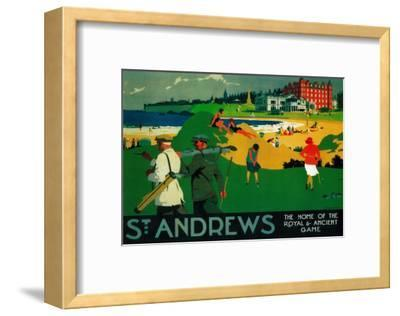 St. Andrews Vintage Poster - Europe-Lantern Press-Framed Premium Giclee Print