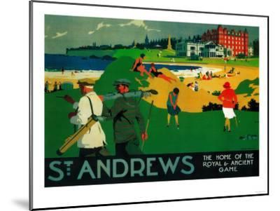 St. Andrews Vintage Poster - Europe-Lantern Press-Mounted Premium Giclee Print