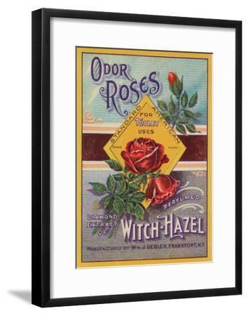 Odor Roses Witch-Hazel Label - Frankfort, NY-Lantern Press-Framed Art Print