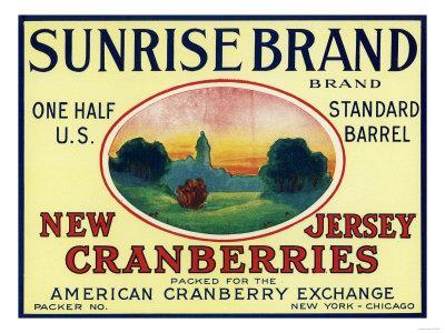 Sunrise Brand Cranberry Label-Lantern Press-Framed Art Print