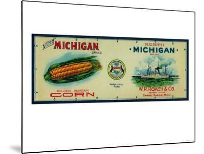 North Michigan Corn Label - Grand Rapids, MI-Lantern Press-Mounted Art Print