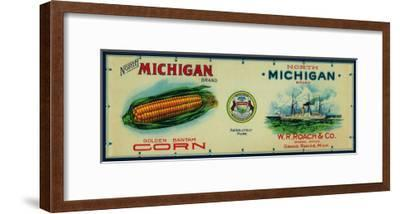 North Michigan Corn Label - Grand Rapids, MI-Lantern Press-Framed Art Print