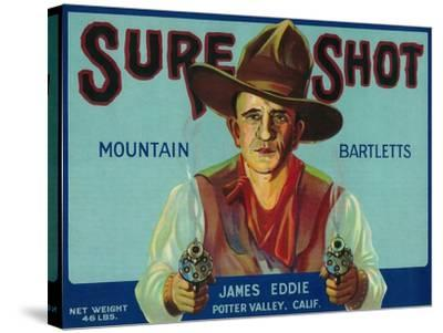 Sure Shot Pear Crate Label - Potter Valley, CA-Lantern Press-Stretched Canvas Print