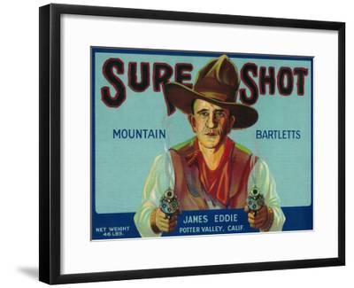 Sure Shot Pear Crate Label - Potter Valley, CA-Lantern Press-Framed Art Print