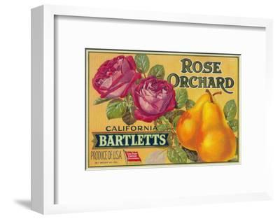 Rose Orchard Pear Crate Label - San Francisco, CA-Lantern Press-Framed Art Print