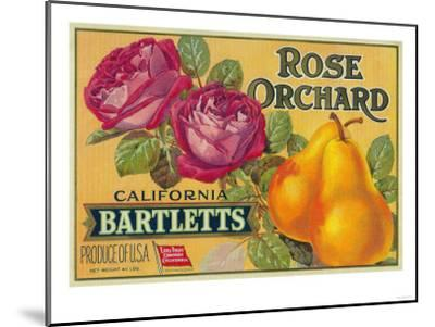 Rose Orchard Pear Crate Label - San Francisco, CA-Lantern Press-Mounted Art Print