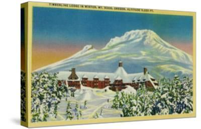Timberline Lodge in Winter at Mt. Hood - Mt. Hood, OR-Lantern Press-Stretched Canvas Print