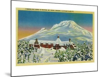 Timberline Lodge in Winter at Mt. Hood - Mt. Hood, OR-Lantern Press-Mounted Art Print