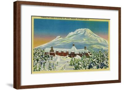 Timberline Lodge in Winter at Mt. Hood - Mt. Hood, OR-Lantern Press-Framed Art Print