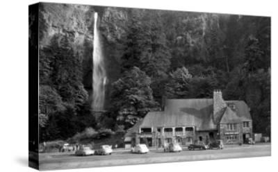 Multnomah Lodge and Falls Photograph - Columbia River, OR-Lantern Press-Stretched Canvas Print