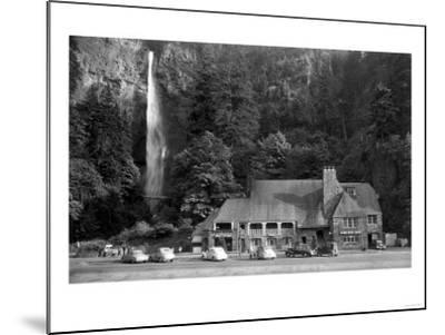 Multnomah Lodge and Falls Photograph - Columbia River, OR-Lantern Press-Mounted Art Print