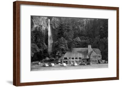 Multnomah Lodge and Falls Photograph - Columbia River, OR-Lantern Press-Framed Art Print