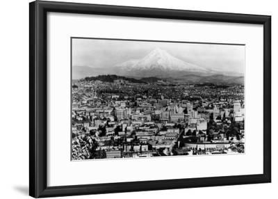 Mt. Hood View from Portland, Oregon Photograph - Portland, OR-Lantern Press-Framed Art Print