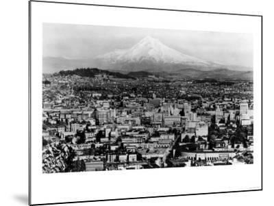 Mt. Hood View from Portland, Oregon Photograph - Portland, OR-Lantern Press-Mounted Art Print