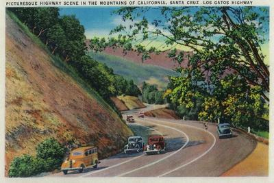 Picturesque Los Gatos Highway near Santa Cruz - Santa Cruz, CA-Lantern Press-Stretched Canvas Print