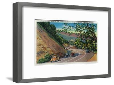 Picturesque Los Gatos Highway near Santa Cruz - Santa Cruz, CA-Lantern Press-Framed Art Print
