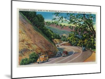 Picturesque Los Gatos Highway near Santa Cruz - Santa Cruz, CA-Lantern Press-Mounted Art Print