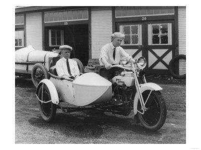 Men on Harley Davidson Motorcycle with Sidecar - Indianapolis, IN-Lantern Press-Framed Art Print