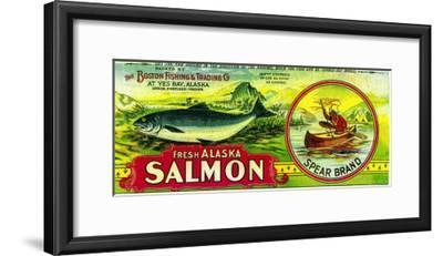 Spear Salmon Can Label - Yes Bay, AK-Lantern Press-Framed Art Print