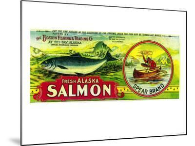 Spear Salmon Can Label - Yes Bay, AK-Lantern Press-Mounted Art Print