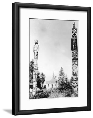 St. Phillips Church and Totems at Wrangell, AK Photograph - Wrangell, AK-Lantern Press-Framed Art Print