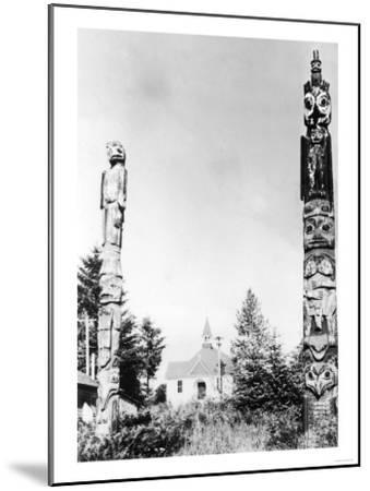 St. Phillips Church and Totems at Wrangell, AK Photograph - Wrangell, AK-Lantern Press-Mounted Art Print